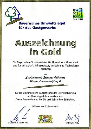 Bayerisches Umweltsiegel für das Gastgewerbe