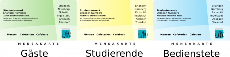 Bezahlkarten des Studentenwerks Erlangen-Nürnberg